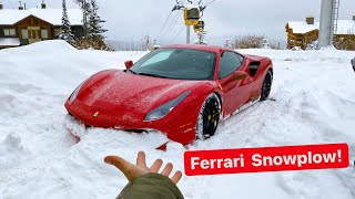 LOWERING MY FERRARI INTO A SNOW PLOW?!