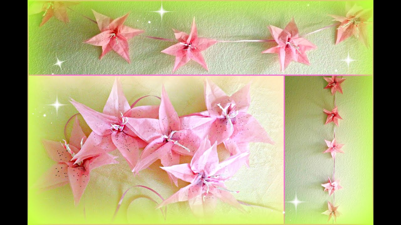 diy flower decorations paper lily garland - Flower Decorations
