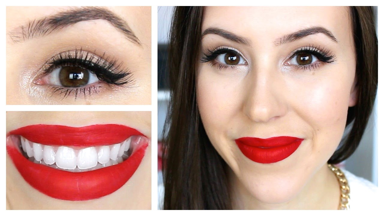 GRWM Christmas Party Look 2014 - Easy Red Lips Makeup Tutorial - YouTube
