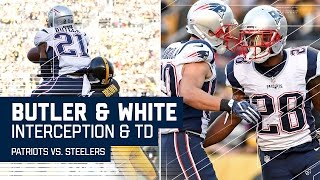Malcolm Butler's INT Leads to Tom Brady's 19-Yard Screen Pass TD! | Patriots vs. Steelers | NFL