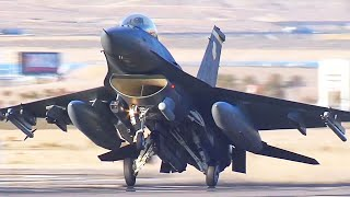 F-16 Fighting Falcon Fighter Jet Take Off U.S. Air Force