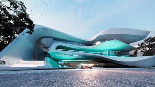 Проект дома в современном стиле. Дом с бассейном, террасой, балконом и гаражом Ремстройсервис ART-12