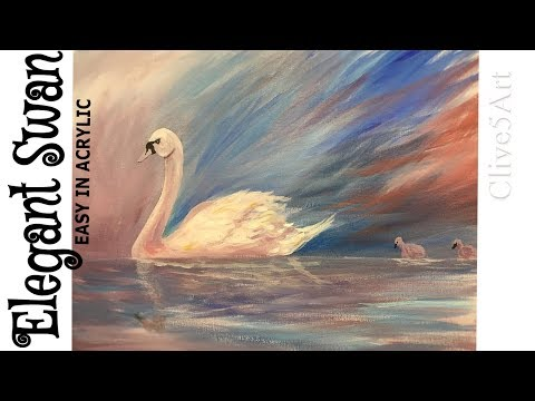 Acrylic Painting a Swan & Water Reflection clive5art