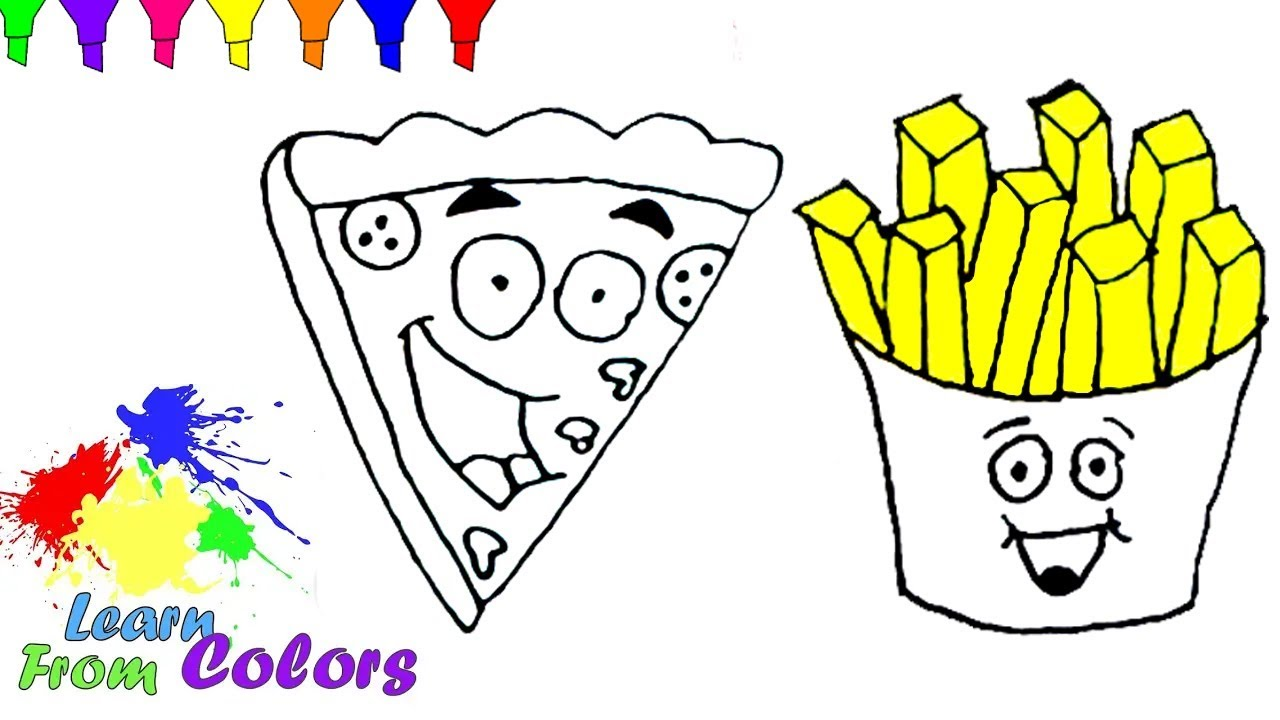 How To Draw Pizza French Fries Coloring Pages And Learn Colors For ...