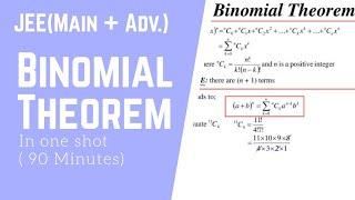 Binomial Theorem in one shot | Binomial Theorem class 11| jee mains and advanced| Maths by Ankit Raj