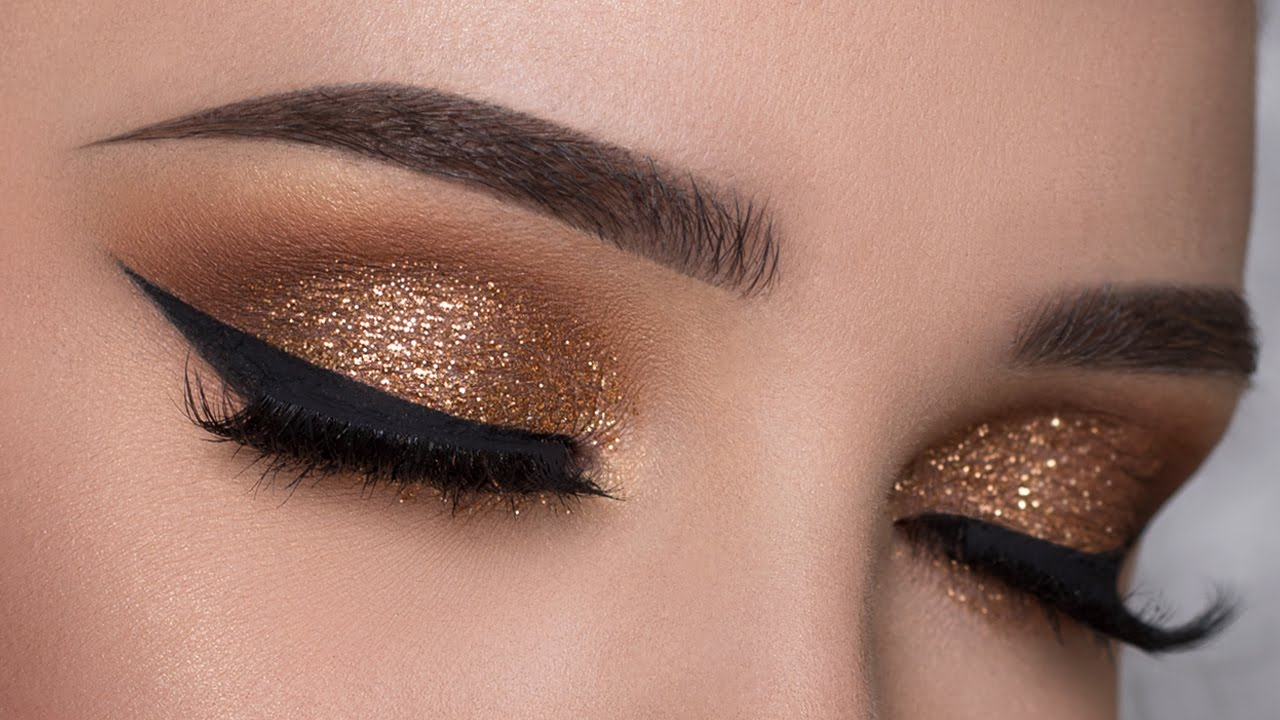 easy copper glitter smokey eye makeup tutorial