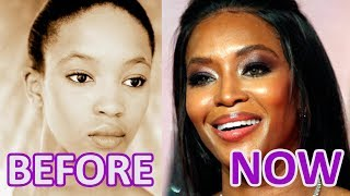 WOMAN and TIME: Naomi Campbell. BEFORE and NOW