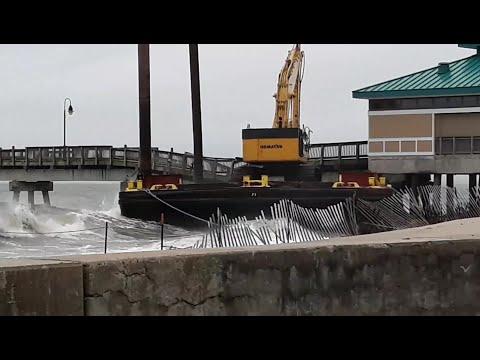 Buckroe Fishing Pier Collapses Following Loose Barge Strike (Viewer Video)