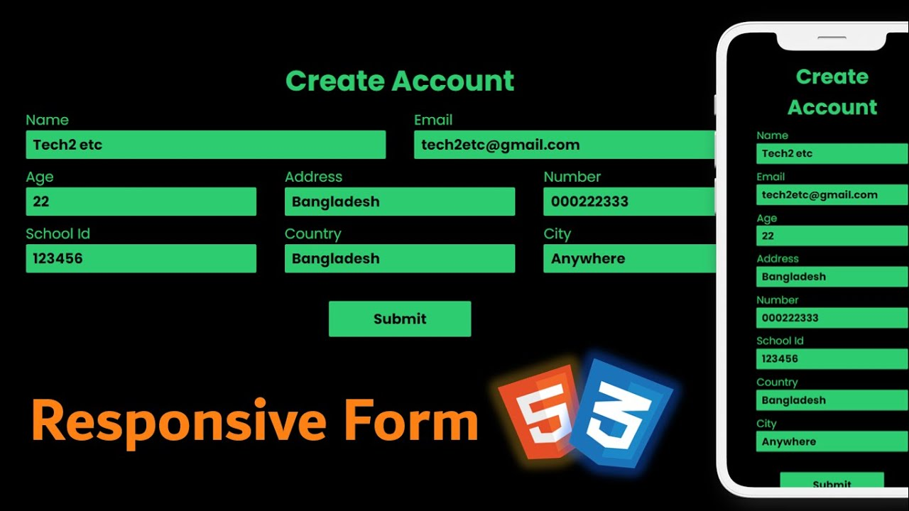 Responsive Form In HTML CSS - Registration Form