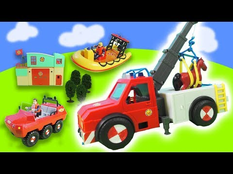 fireman-sam-rescuer-in-distress:-life-raft,-fire-station-|-toys-for-children