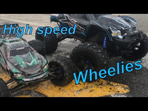 traxxas X MAXX v2 8s vs E revo brushless edition 6s lots of wheelies