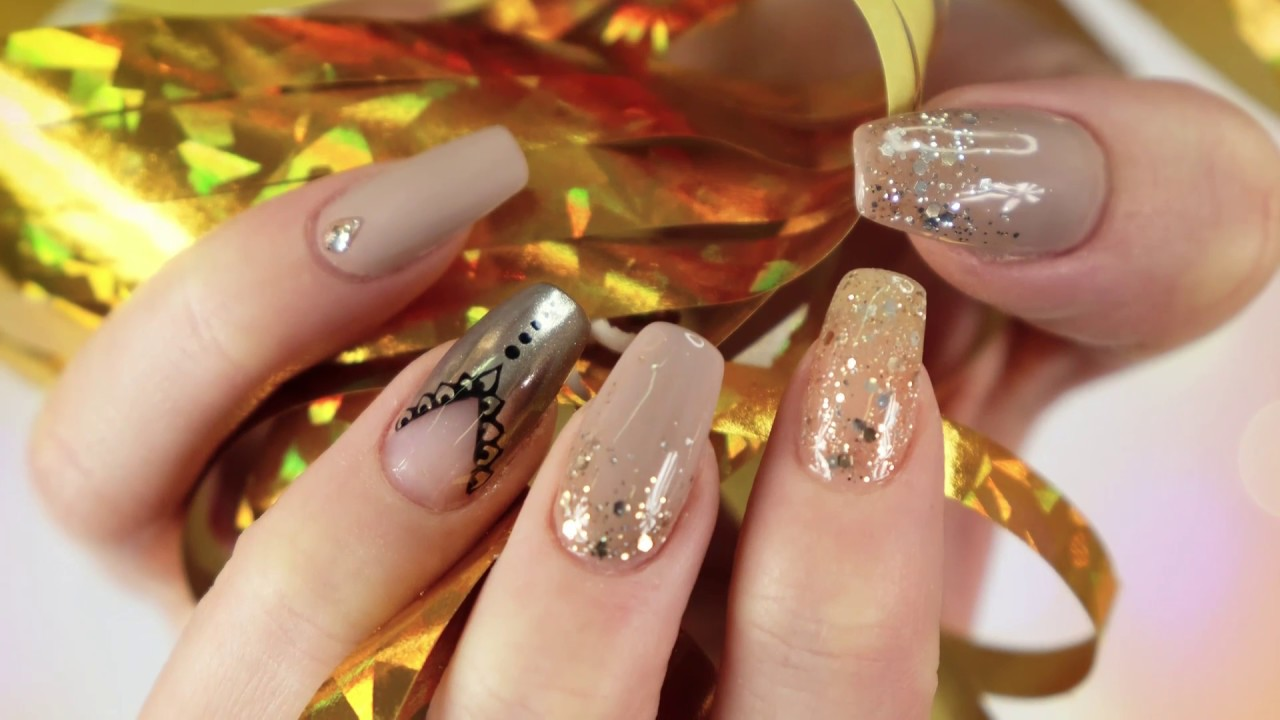 New Years Eve Party Nails 2018 Sylwestrowe Paznokcie Glitter