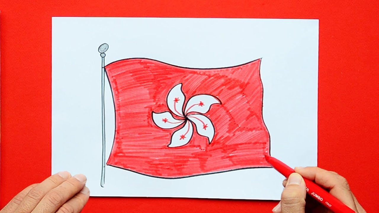 how to draw and color the flag of hong kong sar