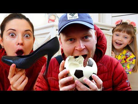 Настя и папа играет в челлендж съедобное как шоколад и настоящее