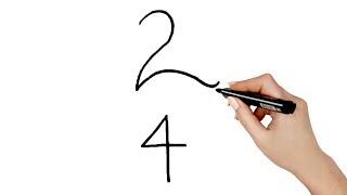 राजहंस आसानी से बनाना सीखें। How to draw Flamingo from 24 number step by step   Easy Drawing