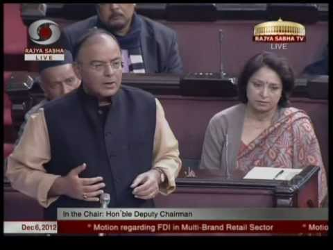 Motion regarding FDI in Multi Brand Retail in Rajya Sabha: Sh. Arun Jaitley: 06.12.2012