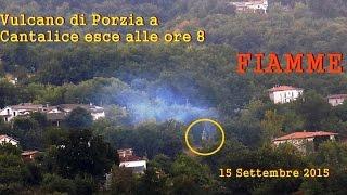 Vulcano di Porzia a Cantalice 15 9 2015 ore 8 con fiamme e sfere bianche che esplodono CSF Rieti