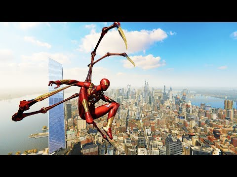 Spider-Man PS4 - Classic Iron Spider Armor Combat & Free Roam Gameplay