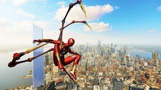 Spider-Man PS4 - Classic Iron Spider Armor Combat & Free Roam Gameplay