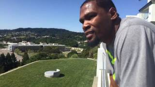 Kevin Durant livestreaming tour of his house.