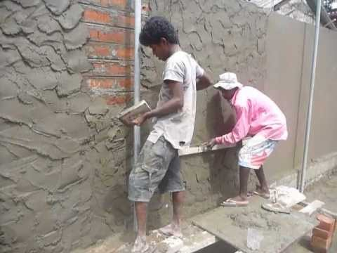 sri lanka ceylon plastering a brick wall mortar youtube. Black Bedroom Furniture Sets. Home Design Ideas