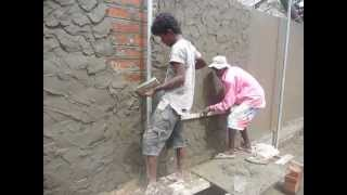 Sri  Lanka,ශ්රී ලංකා,Ceylon,Plastering a Brick wall (Mortar)