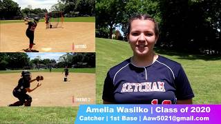 Amelia Wasilko NCAA Softball Skills Video Class of 2020 Catcher & 1st Base