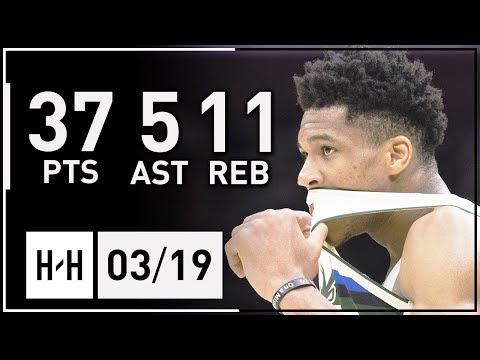 Giannis Antetokounmpo Full Highlights Bucks vs Cavaliers (2018.03.19) - 37 Pts, 5 Ast, 11 Reb!