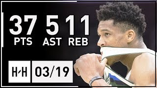 Giannis Antetokounmpo Full Highlights Bucks vs Cavaliers (2018.03.19) - 37 Pts, 5 Ast, 11 Reb!
