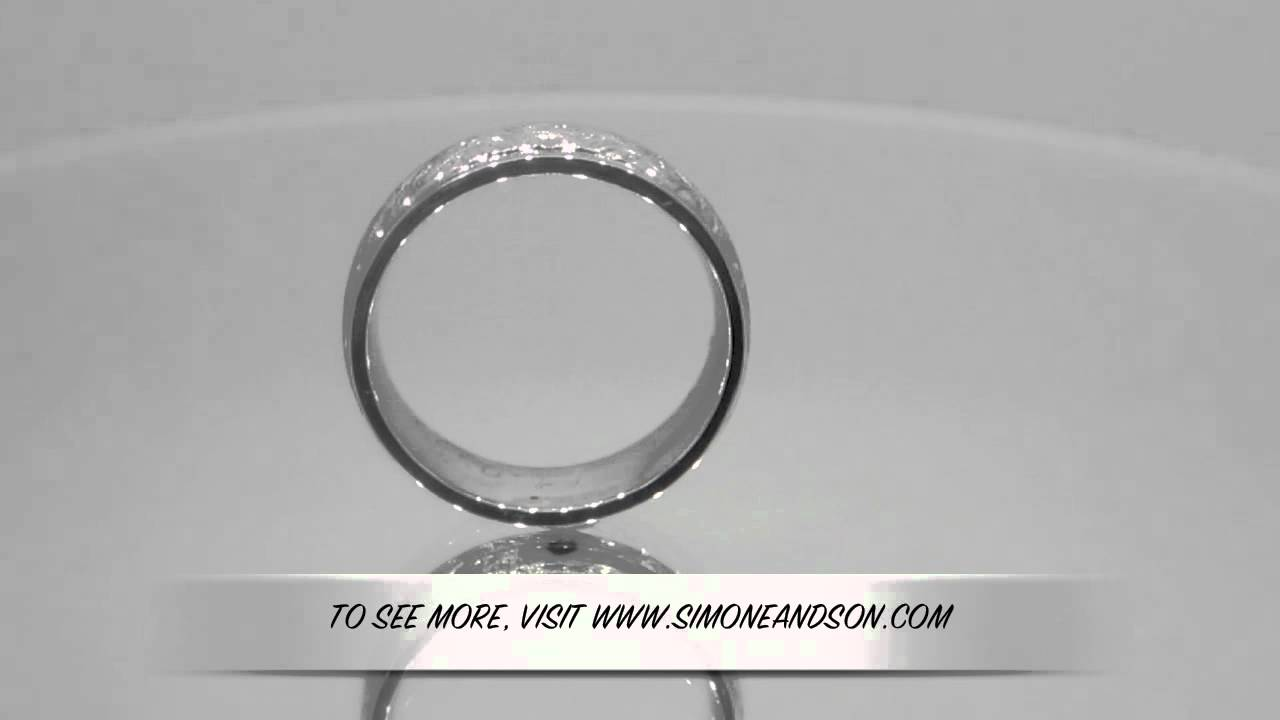 10662 Men S White Gold Engraved Wedding Band Youtube