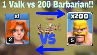CLASH OF CLANS- 1 Valkyrie VS 200 Barbarian. LOL 👑