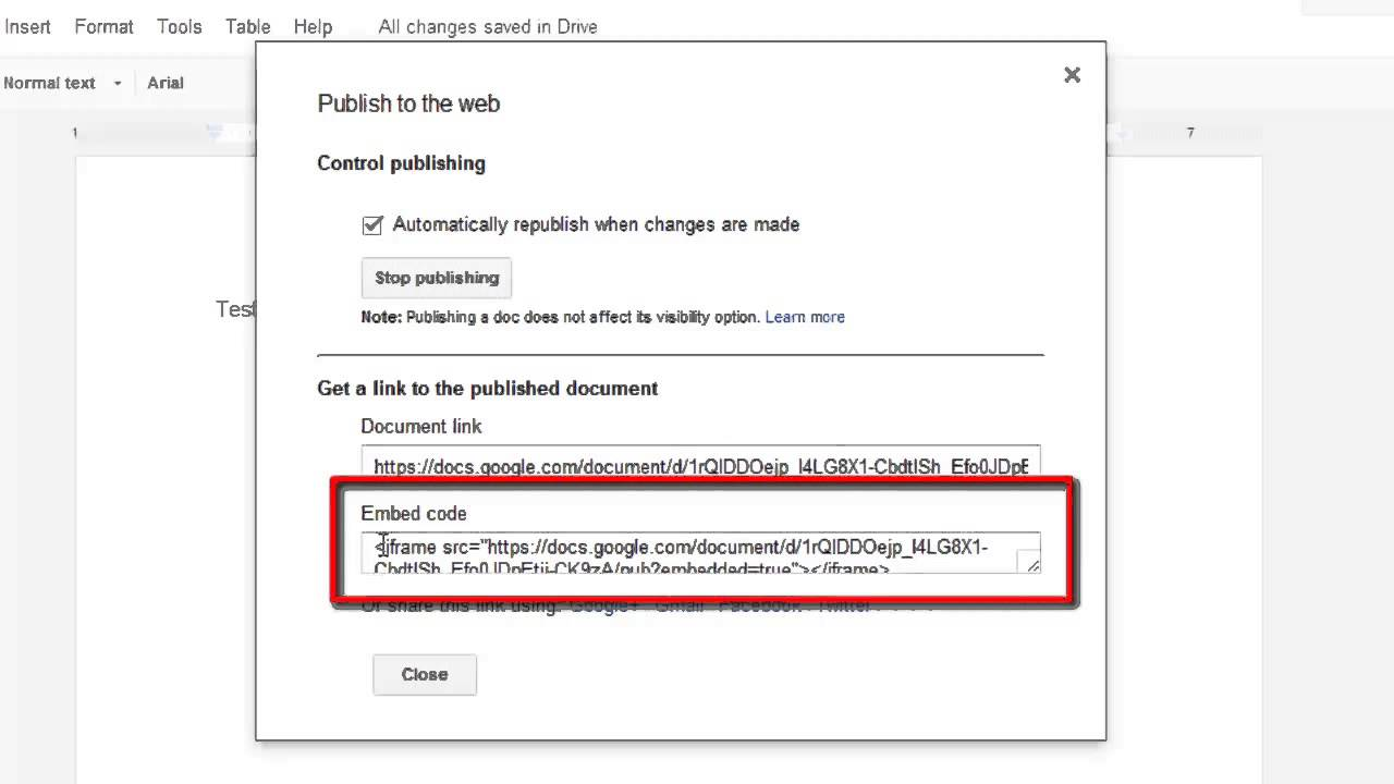 How to embed Google Docs into Blogger