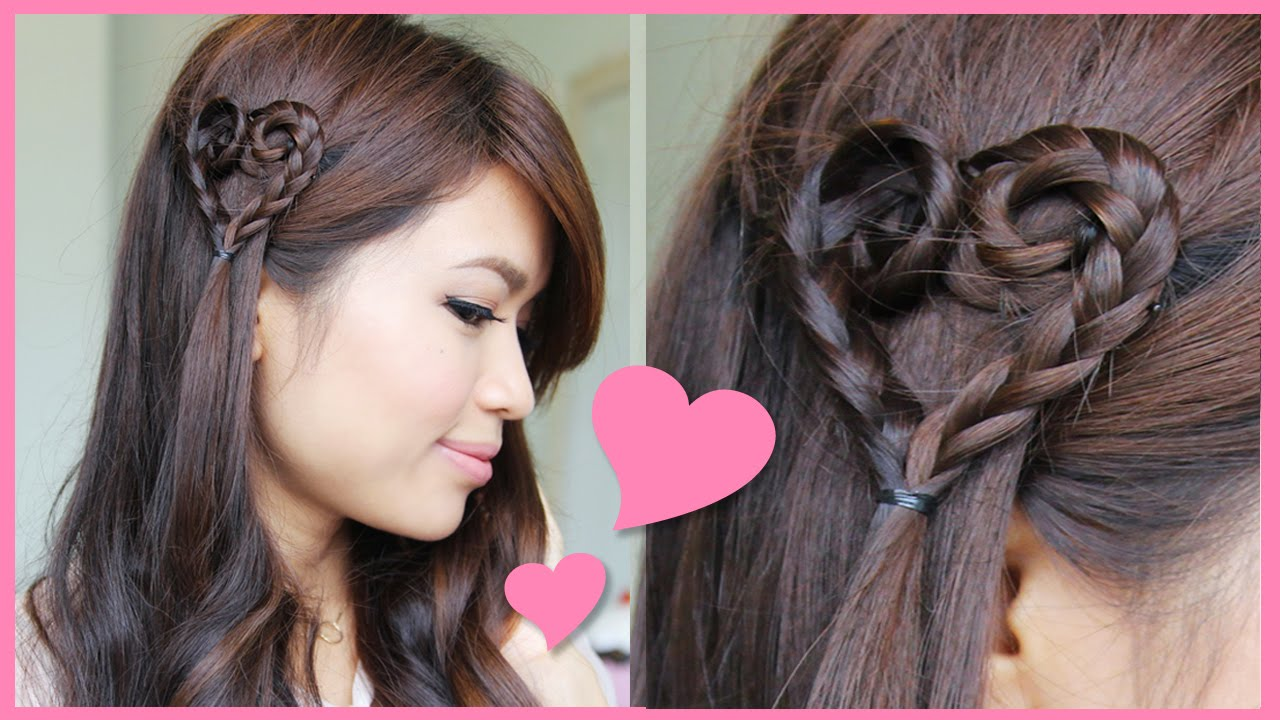Heart Braid Tutorial Valentine S Day Hairstyle Hair Braid Heart Hair Styles Hairstyles Theme