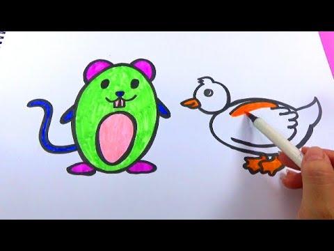 BÉ TẬP VẼ_Hướng dẫn bé vẽ con chuột và con vịt đơn giản_HOW TO DRAWING THE DUCK AND MOUSE