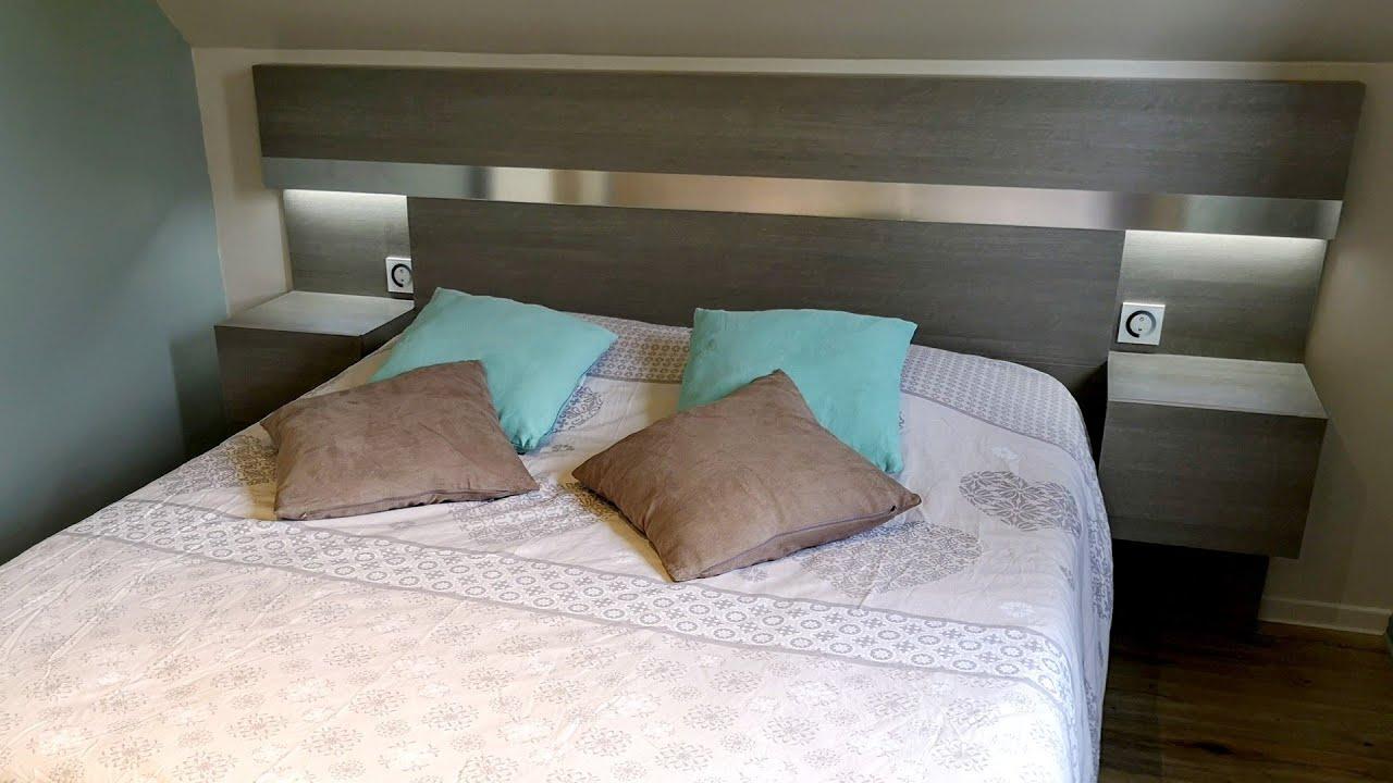fabriquer une tete de lit avec chevets et eclairage integres