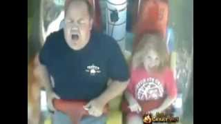 dad scared shit less on swinging  carnival ride-funny