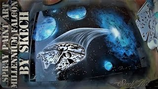 SPRAY PAINTING Millennium Falcon from hyperspace 3D picture