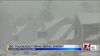 Do winter thunderstorms predict a snowstorm a week later?