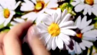 Embroidery daisies ribbons Вышивка лентами по принту.  Ромашка с отдельными лепестками.