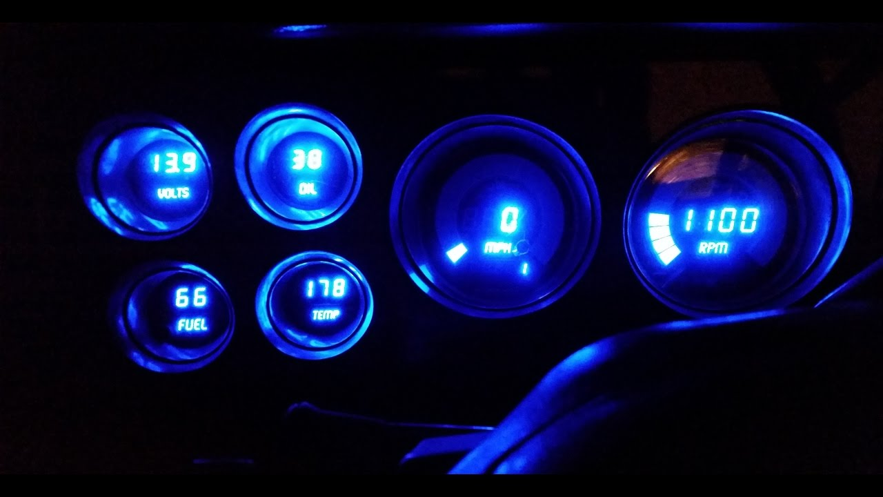 73 87 chevy gmc c10 intellitronix digital gauge cluster blue install part 2 [ 1280 x 720 Pixel ]