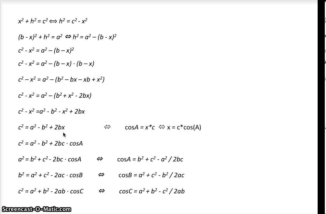 bevis cosinusrelationerne