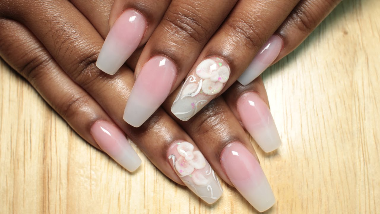 Pink Nude Ombre Coffin Nails With Encapsulated 3D Flower