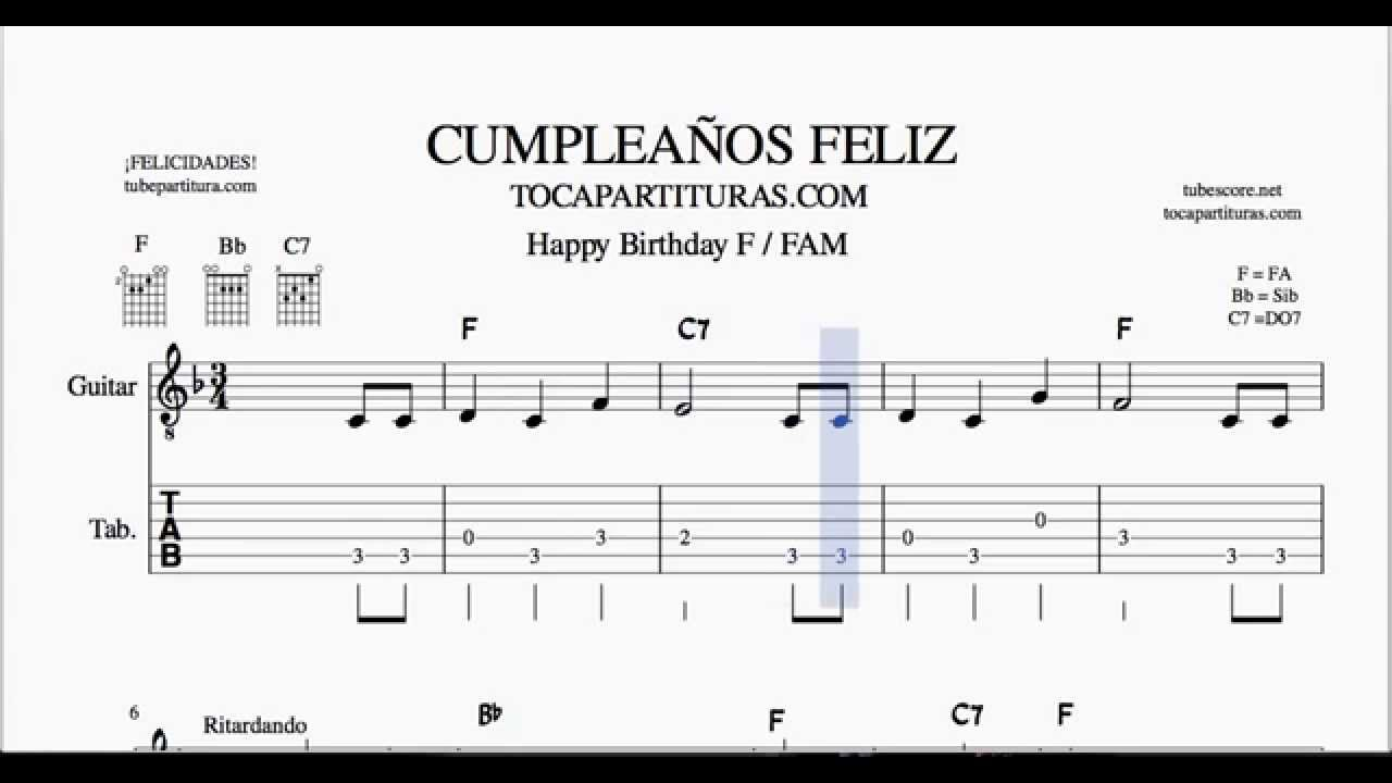 Cumpleaños Feliz Tablatura Fa Mayor Partitura Del Punteo De Guitarra Tab Youtube