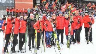 Президентский биатлон в Раубичах: Лукашенко вышел на лыжню вместе с известными олимпийцами Беларуси