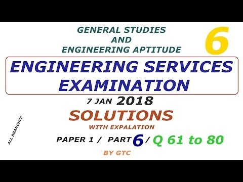 Engineering Services Examination Solution 2018 #6 ( Paper 1 GS ) Q 61 to 80