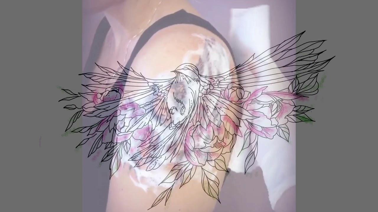 Tatouage La Patte Rose Oiseau Fleurs Et Aquarelle Youtube