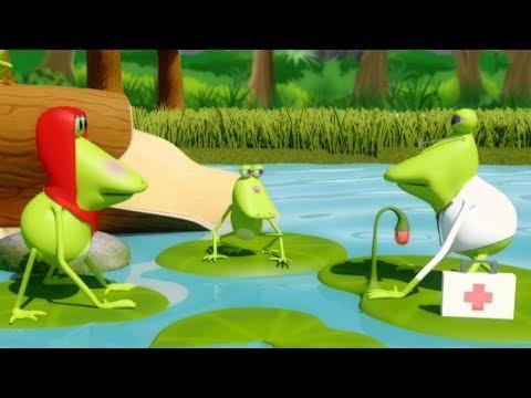 Пять маленьких лягушек | Прыгающая рифма для детей | Лучшие русские рифмы | Five Little Frogs