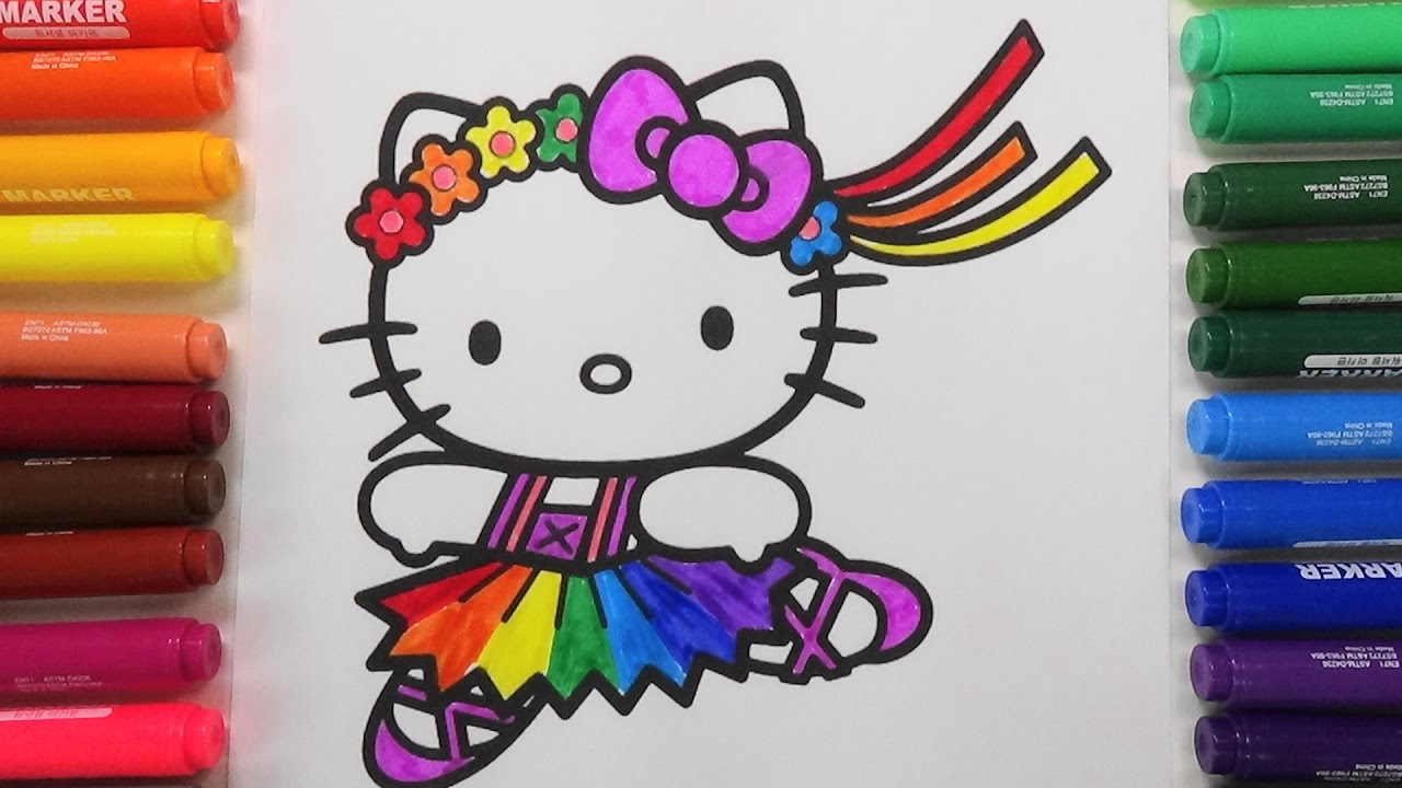 Ballerina Hello Kitty Coloring Pages Rainbow Colors 발레리나