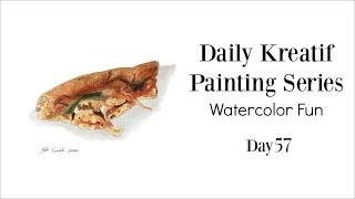 Daily Painting - Slice of Pizza in Watercolor 57/100 | Siti Nuriati Husin