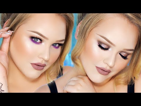Sparkly Taupe and Purple Smokey Eyes - Greige Lips Look